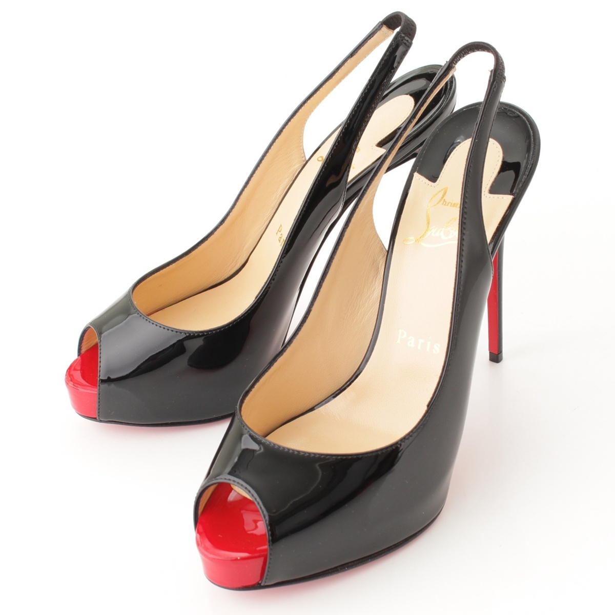 Christian Louboutin PRIVATE NUMBER バックスリング パテント パンプス ブラック 37 未使用59301【正規品】【送料無料】