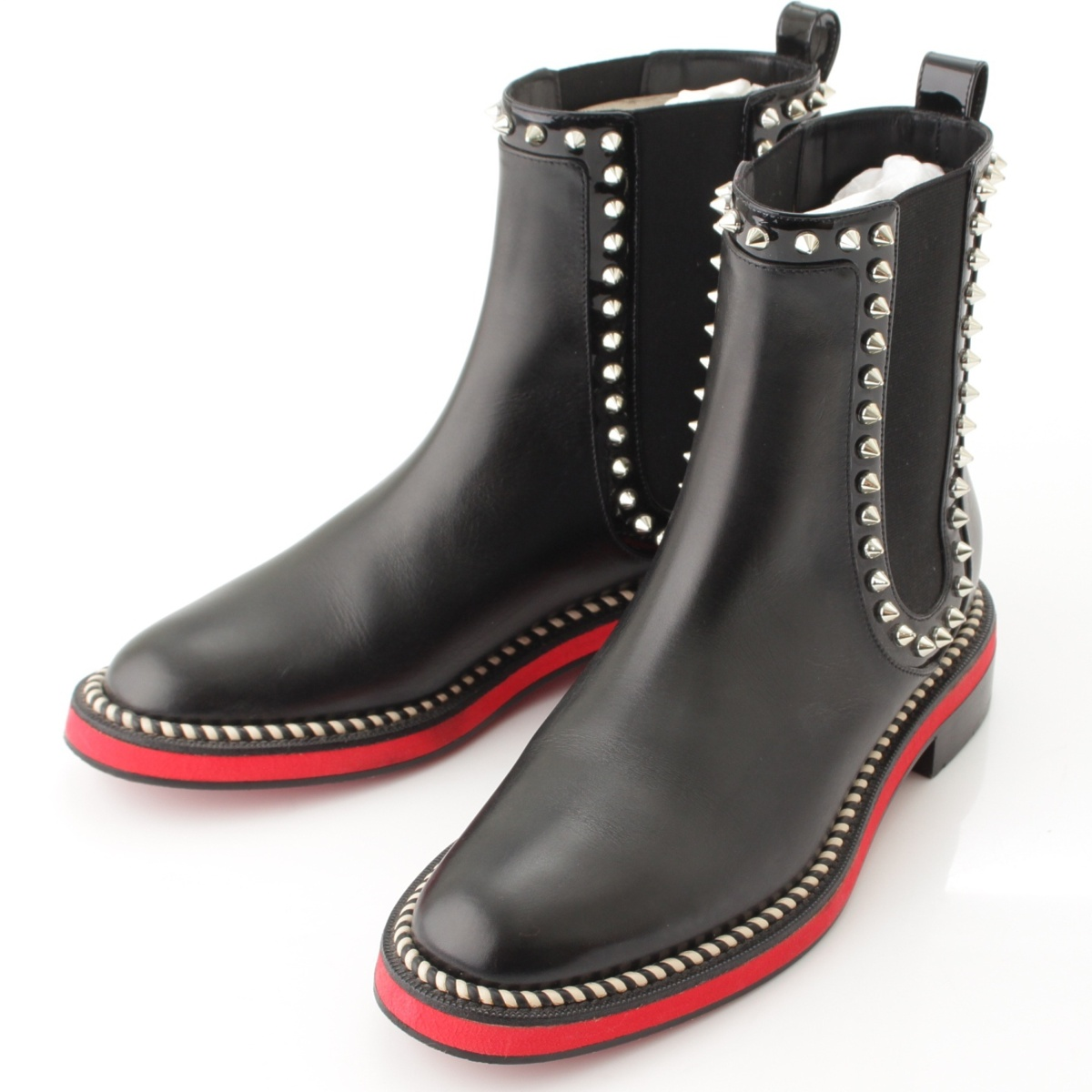 Christian Louboutin NOTHING HILL スパイク レザー ショートブーツ ブラック 37 60359【正規品】【送料無料】