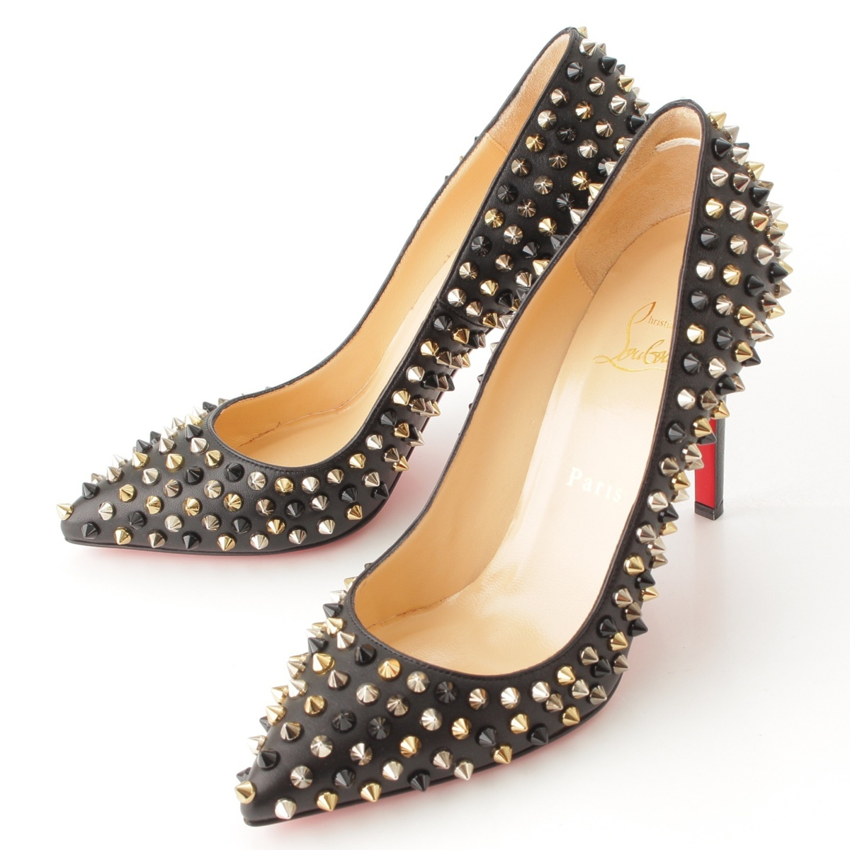 Christian Louboutin PIGALLE スパイク レザー ヒール パンプス ブラック 38 未使用63623【正規品】【送料無料】