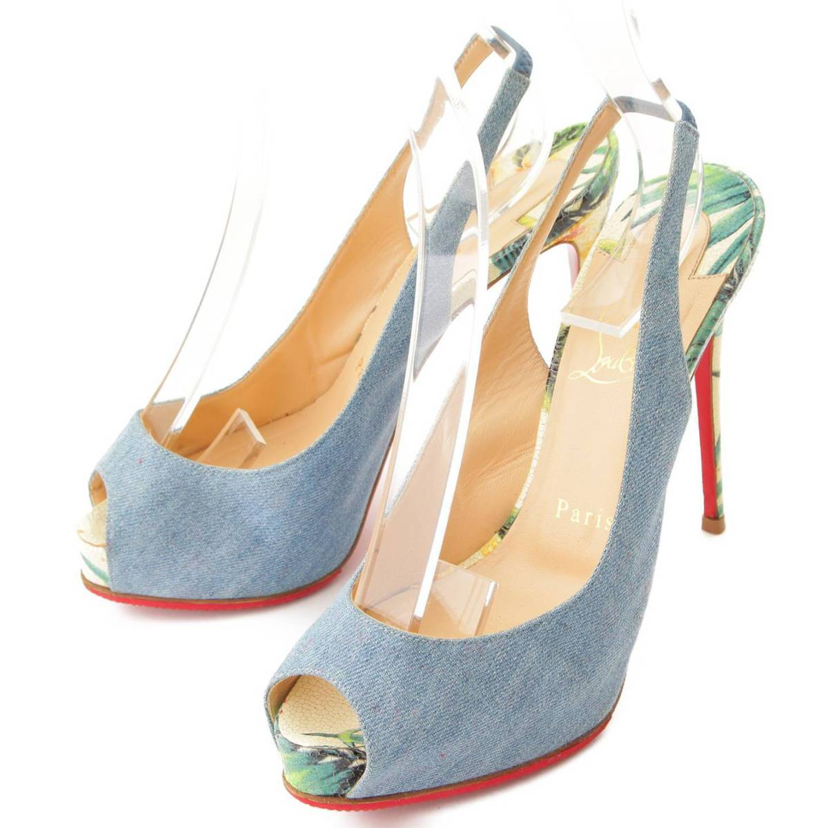 Christian Louboutin PRIVATE NUMBER バックスリング デニム パンプス ブルー 36 1/2 77174【正規品】【送料無料】